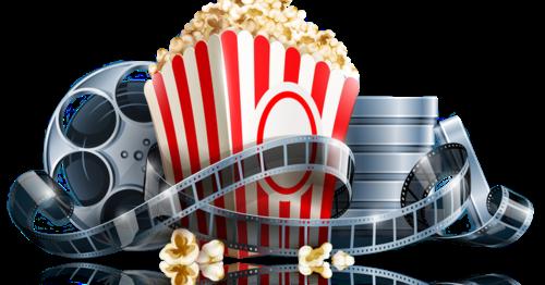 film reels and popcorn